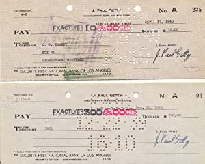 A Pair of Checks, Signed, Los Angeles, CA, Dec. 22, 1939 and April 19, 1940