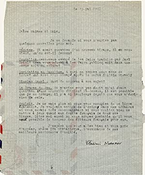 Typed Letter Signed, in French, regarding six: NABOKOV, VLADIMIR