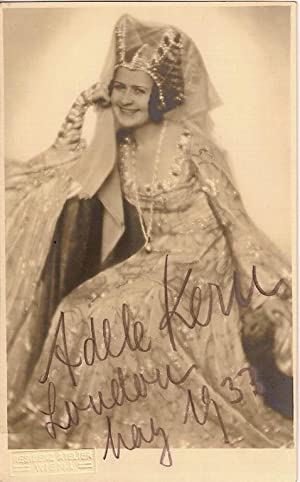 Autograph / signed postcard-photograph of the German soprano, Adele Kern, dated May 1933.: ...
