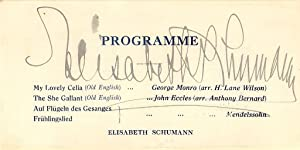 Autograph / signature of the legendary German soprano Elisabeth Schumann.: SCHUMANN, ELISABETH...
