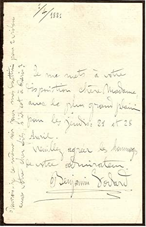 One page autograph letter from the French composer Benjamin Godard, dated 1/4/1881.: ...