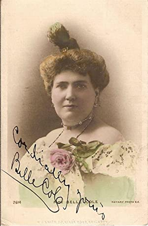Autograph / signed photograph-postcard of the American contralto and opera singer, Belle Cole....