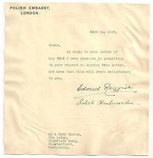 Edward Bernard Raczynski: Autograph / Signature, dated 23rd May 1935.: RACZYNSKI, EDWARD ...