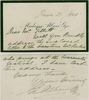 Short autograph two sided note to Mr Tillett from the Canadian soprano and opera singer, Emma ...