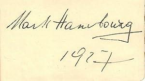 Autograph / signature of the Russian born: HAMBOURG, MARK 1879-1960