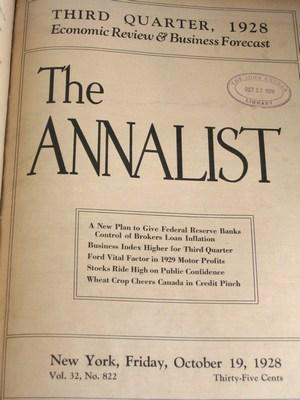 The Annalist: A Journal of Finance, Commerce and Economics, 1928 (half year of 25 issues bound into...