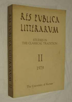 Res Publica Litterarum Studies In The Classical Tradition II 1979 N A