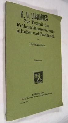 Zur Technik der Frührenaissancenovelle in Italien und Frankreich: Auerbach, Erich