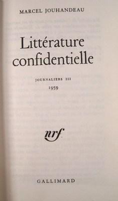 Littérature confidentielle, Jouenaliers III, 1959: Jouhandeau, Marcel