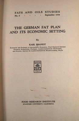 The German Fat Plan and its Economic Setting: Brandt, Karl