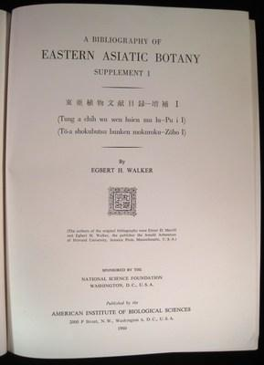 A BIBLIOGRAPHY OF EASTERN ASIATIC BOTANY Supplement 1.