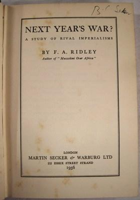 Next Year's War? A Study of Rival Imperialisms: Ridley, F. A.