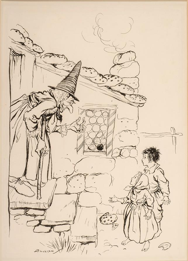 Just then the door opened, and a very old woman walking upon crutches came out: RACKHAM, Arthur, ...