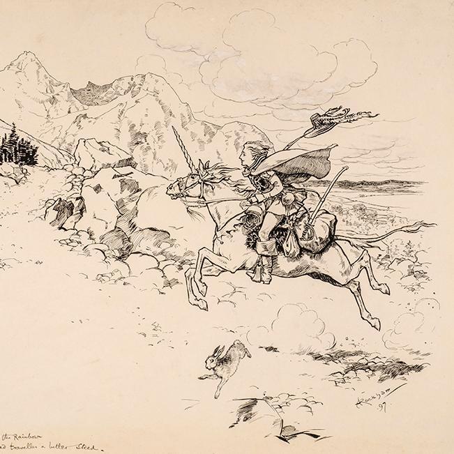 Never had traveller a better Steed: RACKHAM, Arthur; Bonser, A.E.; St. Nicholas Magazine