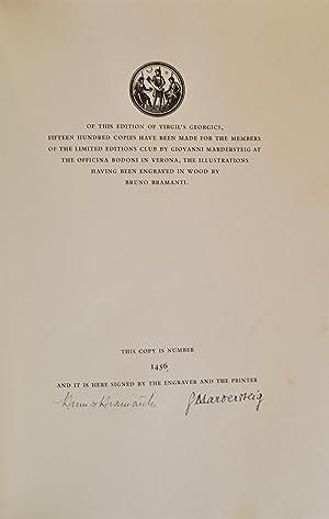 Georgics, The: LIMITED EDITIONS CLUB]; BRAMANTI, Bruno, illustrator; VIRGIL (Publuis Virgilius Maro...