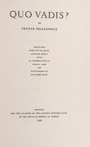 Quo Vadis: SIENKIEWICZ, Henryk; FIUME, Salvatore, illustrator; CURTIN, Jeremiah, translator; ...