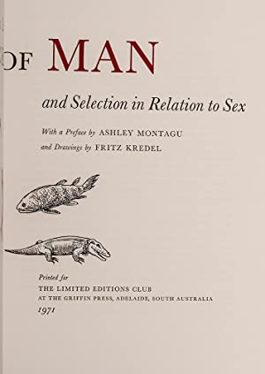 Descent of Man, The: DARWIN, Charles; LIMITED EDITIONS CLUB; KREDEL, Fritz, illustrator; MONTAGU, ...