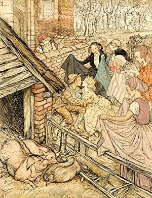 Just as the swineherd was taking the eighty-sixth kiss: RACKHAM, Arthur,artist