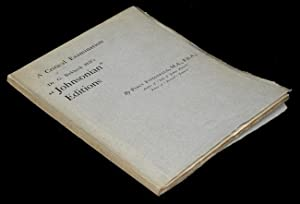 "Critical Examination of Dr. G. Birkbeck Hill's ""Johnsonian"" Editions issued by the ..."