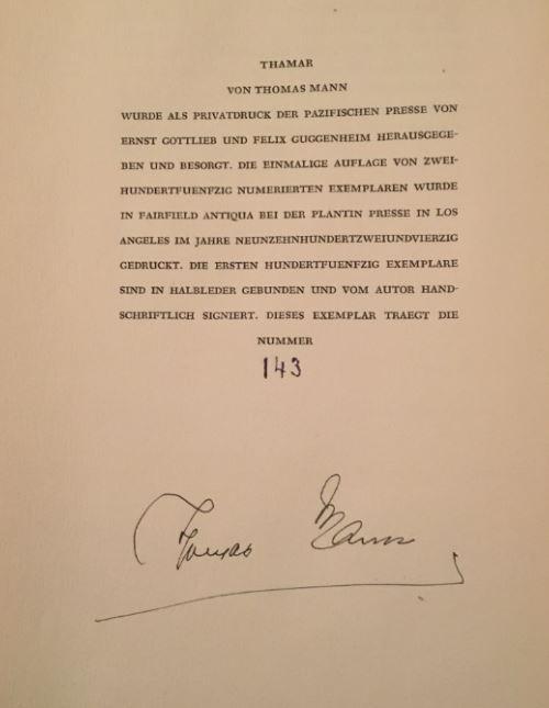 Thamar. Herausgegeben von Ernst Gottlieb und Felix: Mann, Thomas.