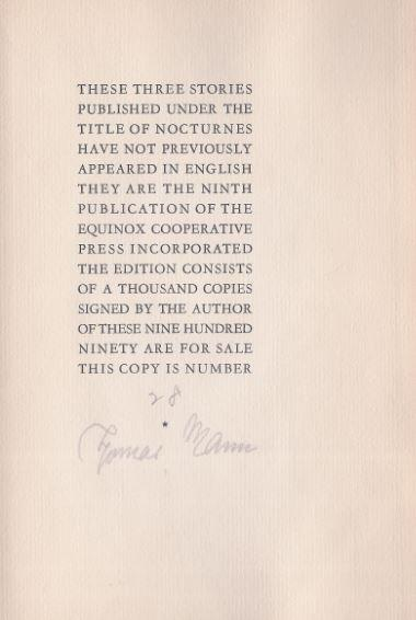 Nocturnes. With Lithograhs by Lind Ward.: Mann, Thomas.