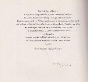 Thamar. Zeichnungen von Gunter Böhmer. ( Die: Mann, Thomas.