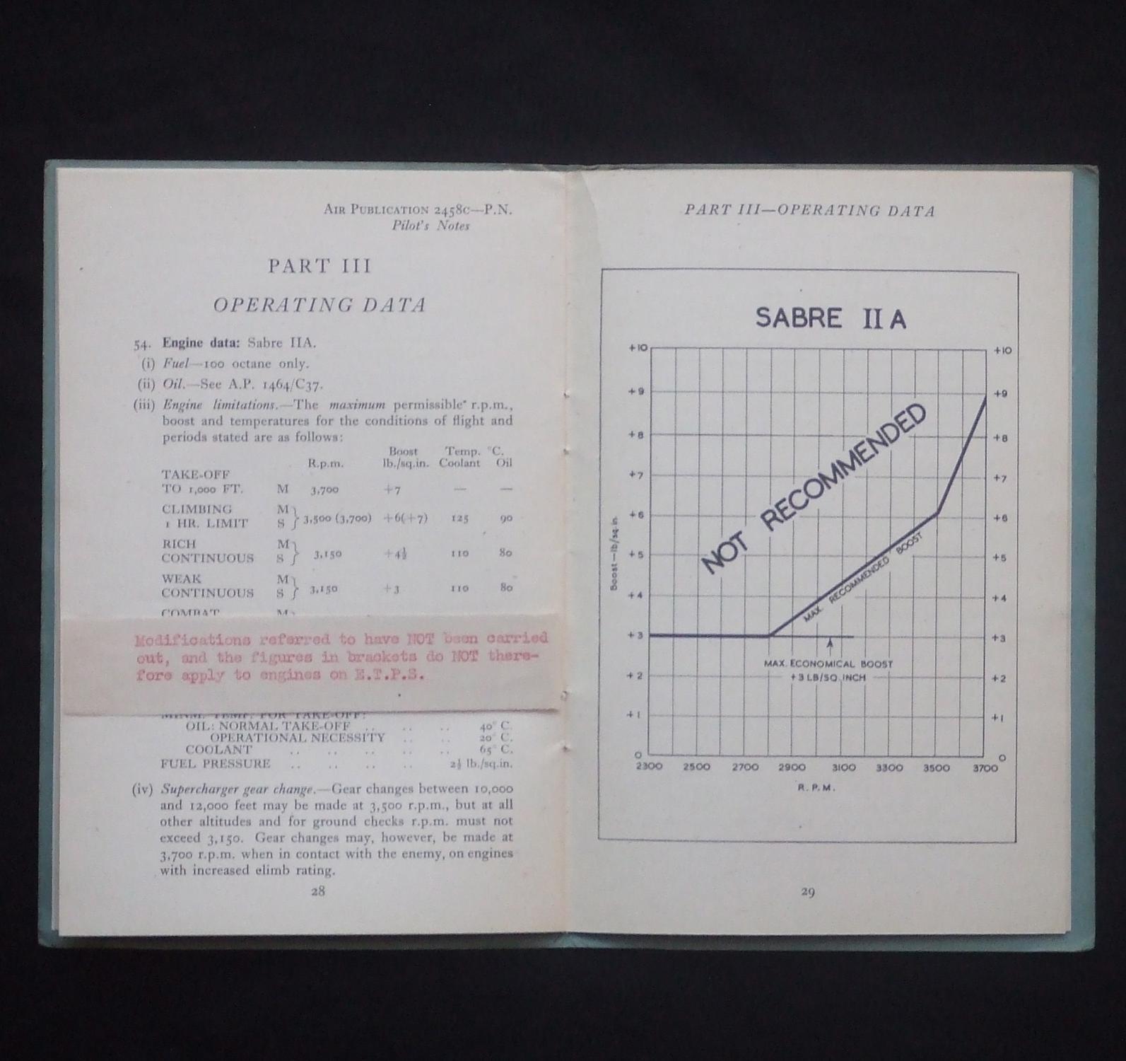 Pilots Notes For Tempest V Sabre Iia Engine Ap 2458c Pn Diagram Original