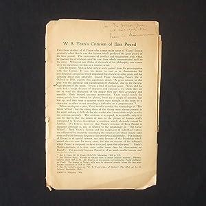 W.B. Yeat's Criticism of Ezra Pound [Offprint: HAUSERMANN, H.W. [YEATS,