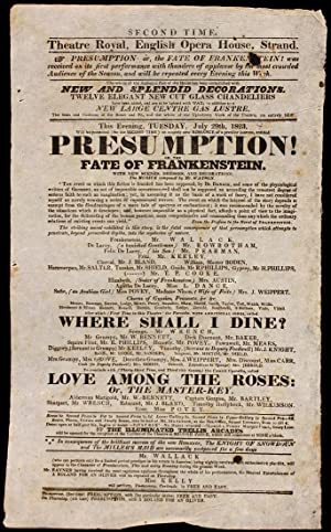 Presumption! Or The Fate of Frankenstein. This: PEAKE, Richard Brinsley