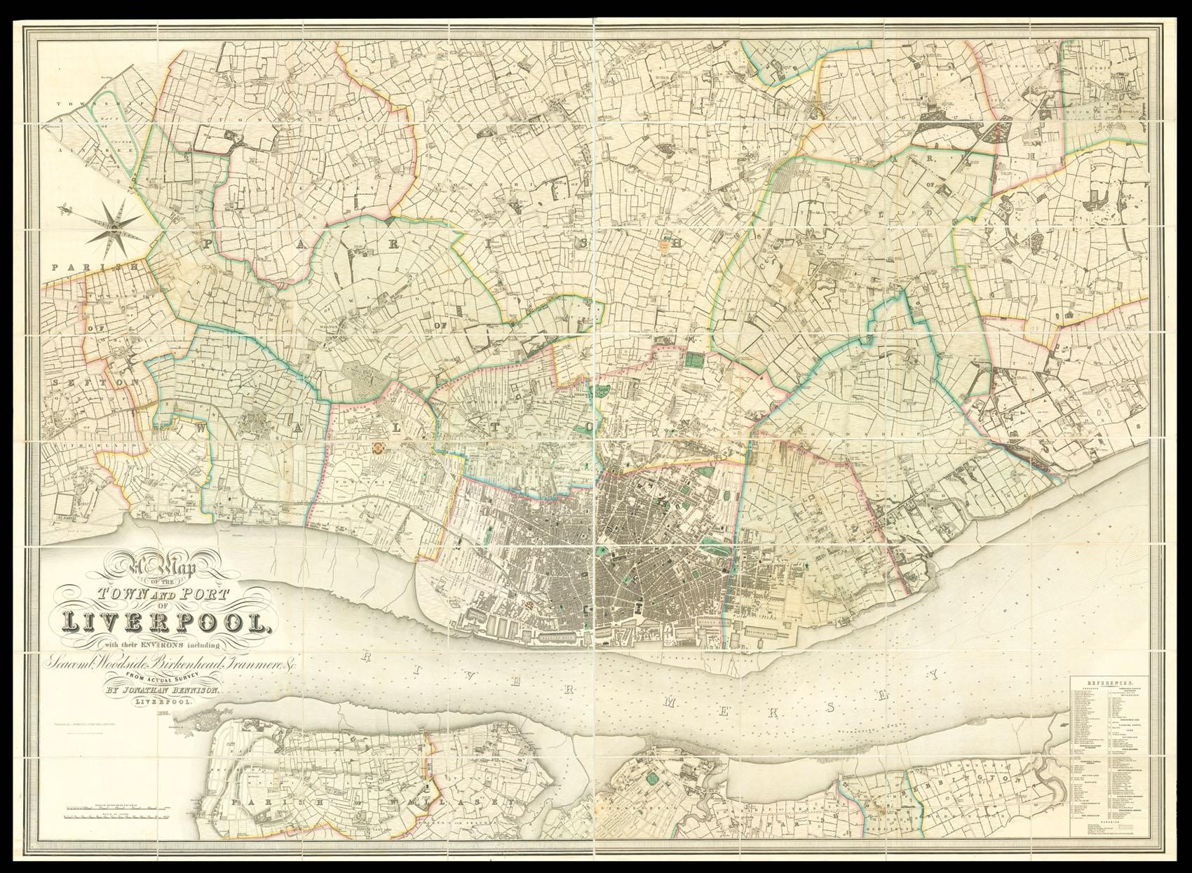 Map of the town and port of Liverpool, with ...