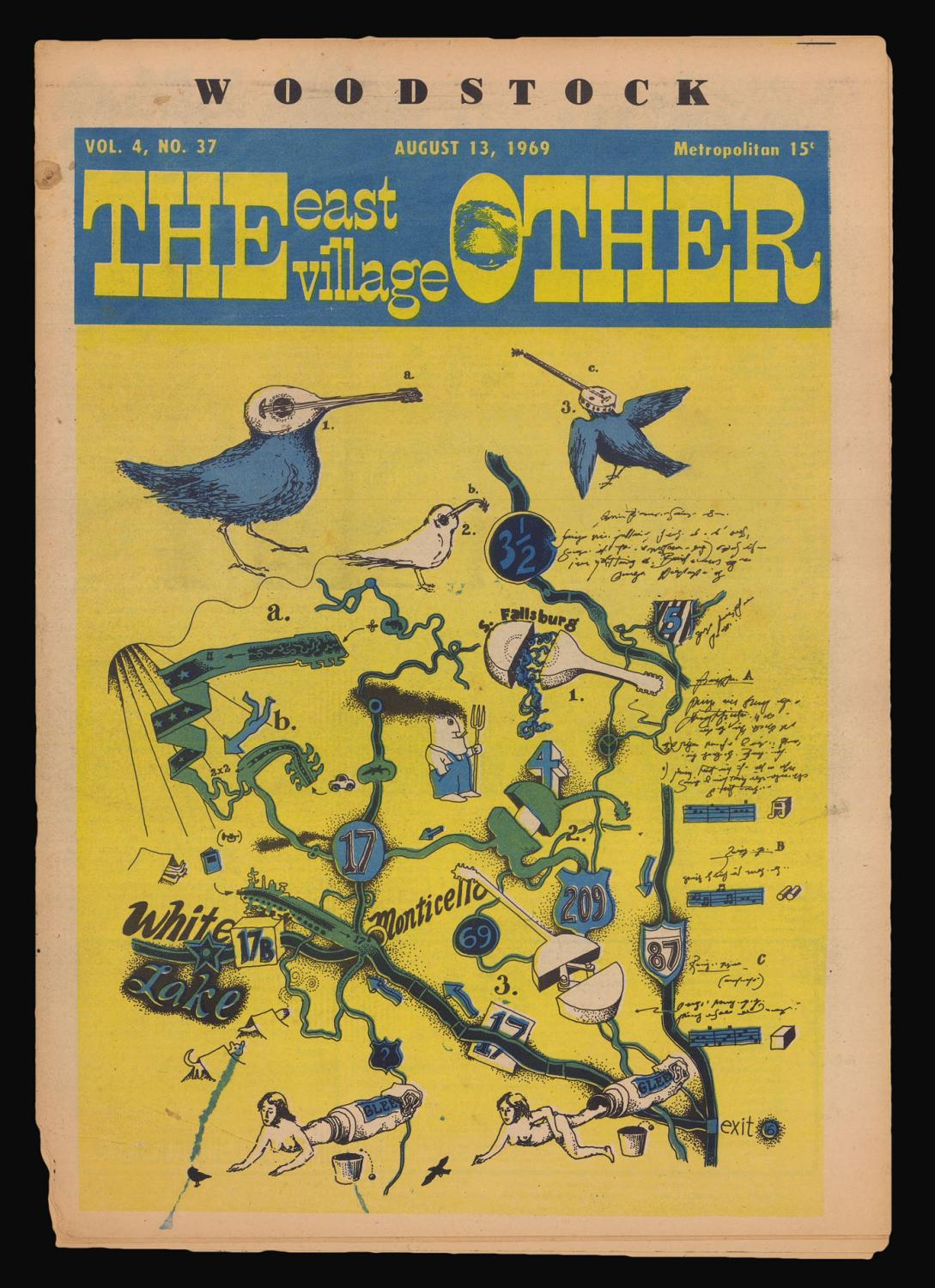 Psychedelic Map Of Woodstock De The Other East Village 1969