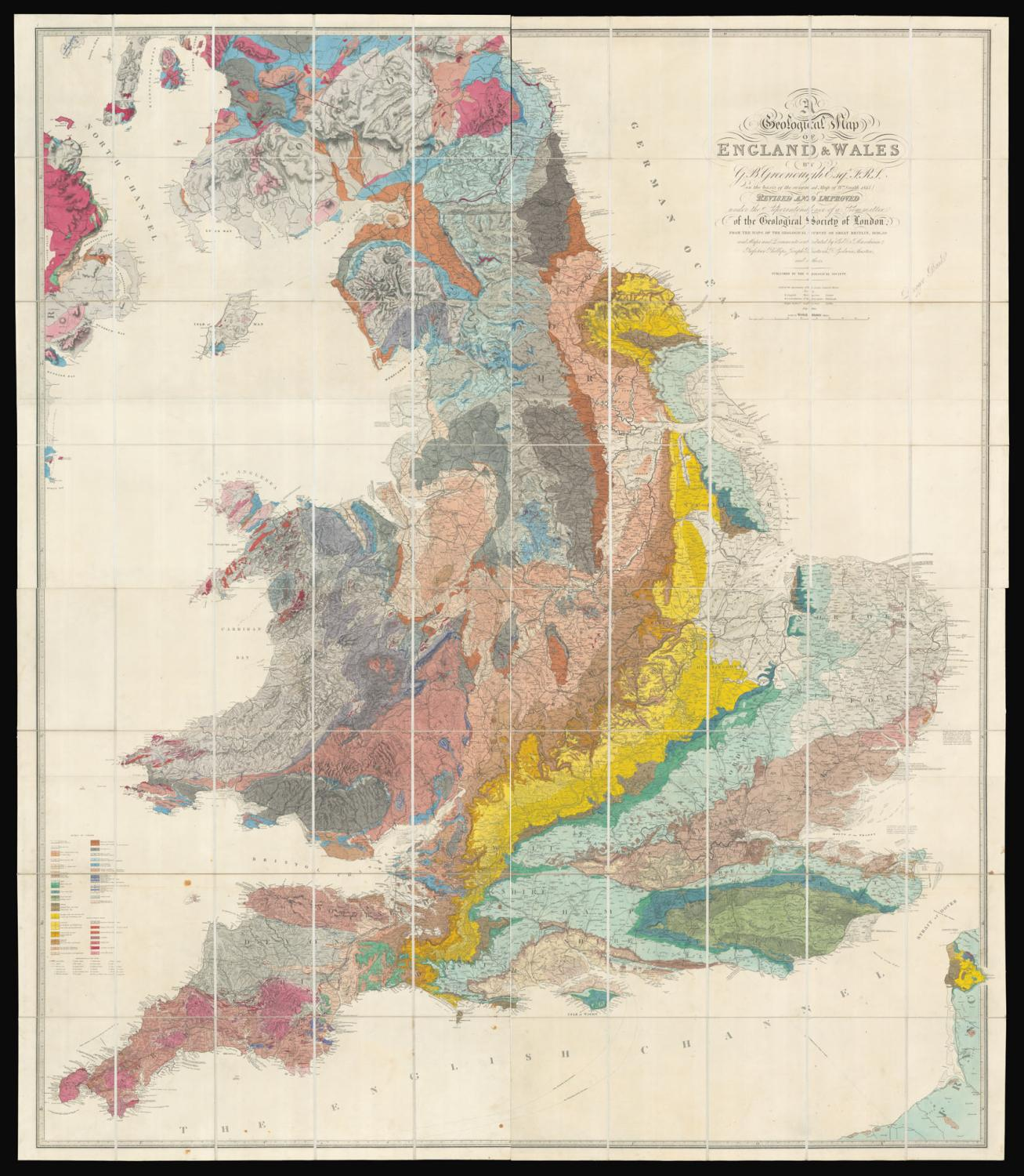 Sections Of London Map.A Physical And Geological Map Of England And Wales By G B Greenough
