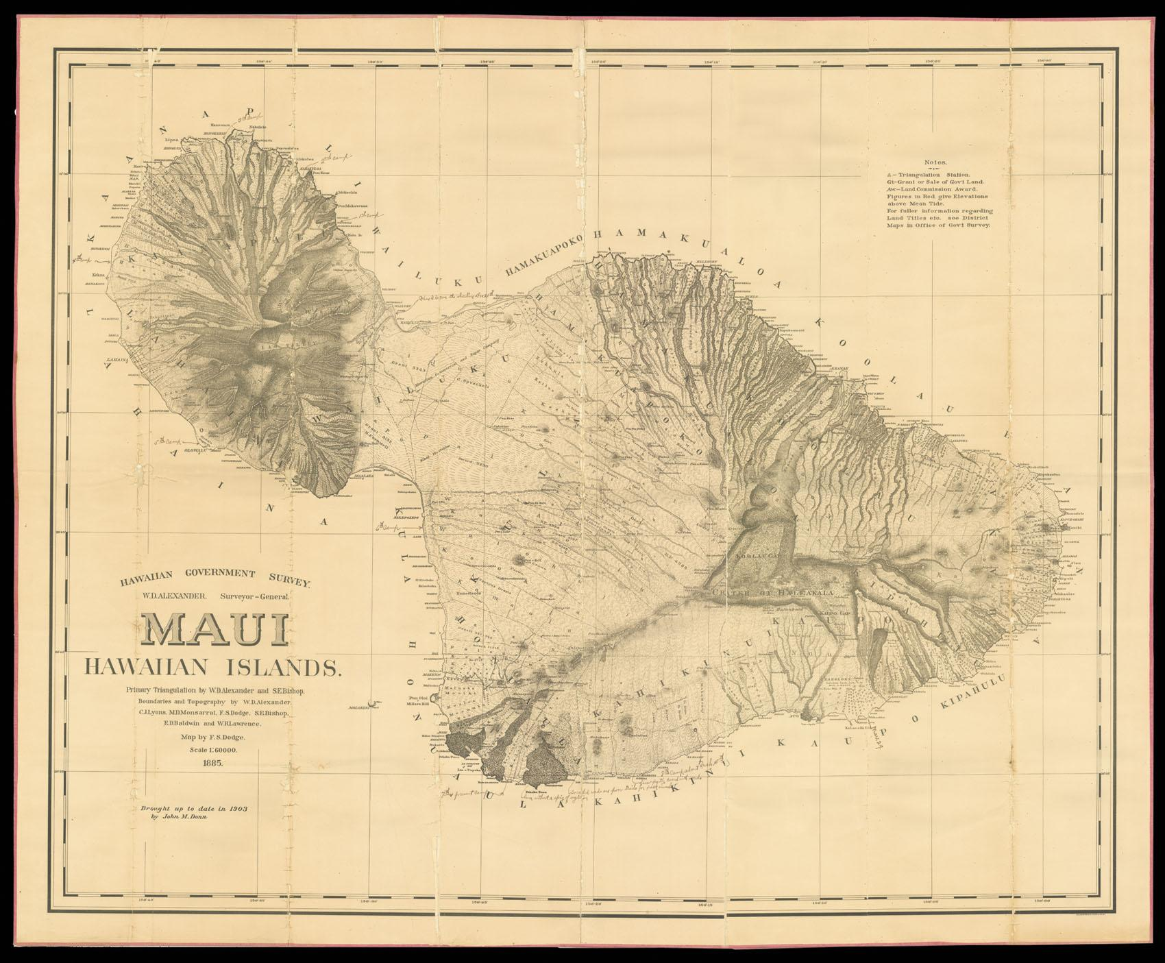 Topographic Map Of Maui.Hawaiian Government Survey W D Alexander Surveyor General Map Of