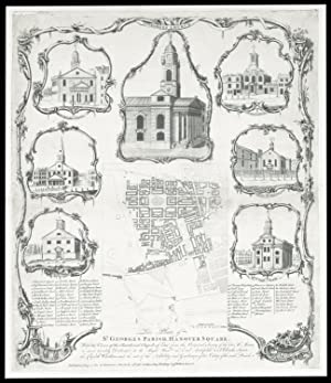 This Plate of St. Georges Parish, Hanover Square. With the Views of the Church and Chapels of Eas...