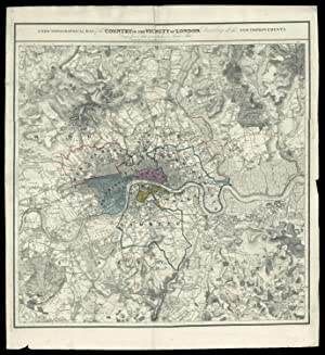 A New Topographical Map of the Country in the Vicinity of London, Describing all the New Improvem...
