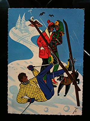 "Cartolina illustrata ""sport invernali"" 1966 - viaggiata"