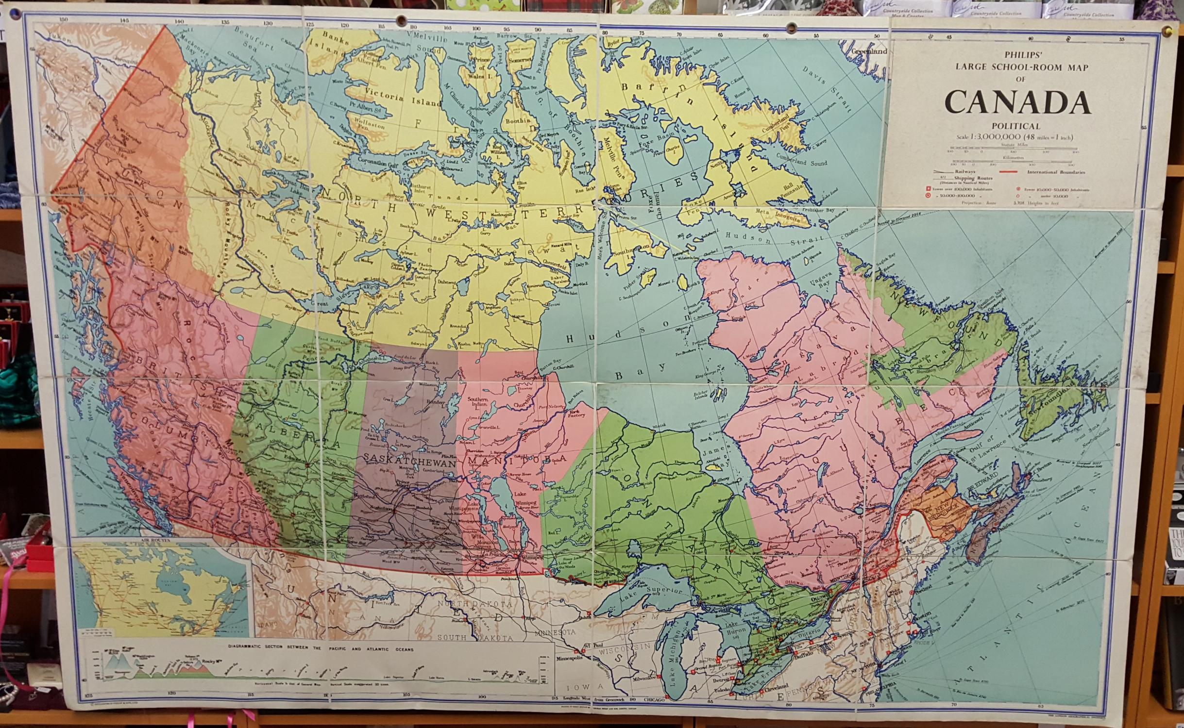 The Political Map Of Canada.Philips Large School Room Map Of Canada