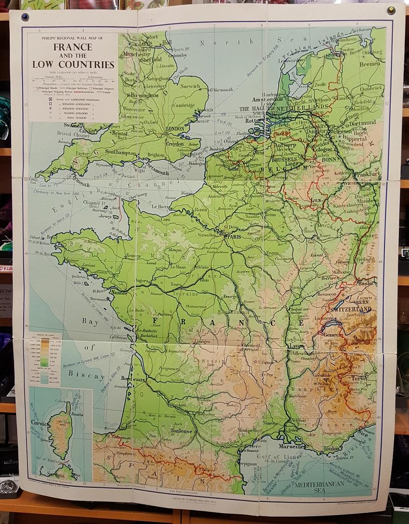 Pysical Map Of France Philips' Regional Wall Map of France and the Low Countries