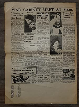 Evening Standard May 10, 1940, Nazis Invade Holland, Belgium, Luxemburg: Many Airports Bombed.