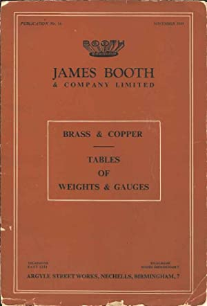 James Booth. Brass & Copper. Tables of Weights & Gauges. Publication No. 16. November 1948