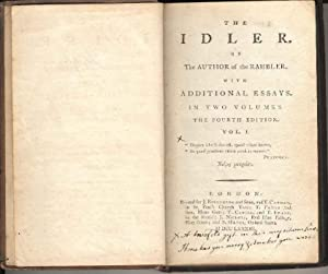 The Idler by the Author of the Rambler. With Additional Essays in two Volumes. the Fourth Edition...