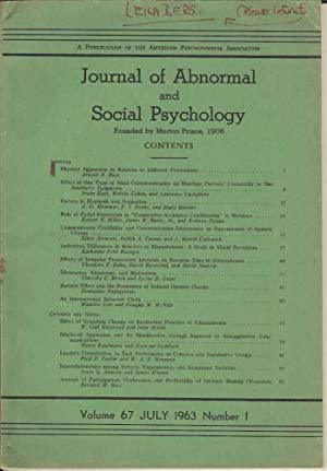 Journal of Abnormal and Social Psychology. Volume: various