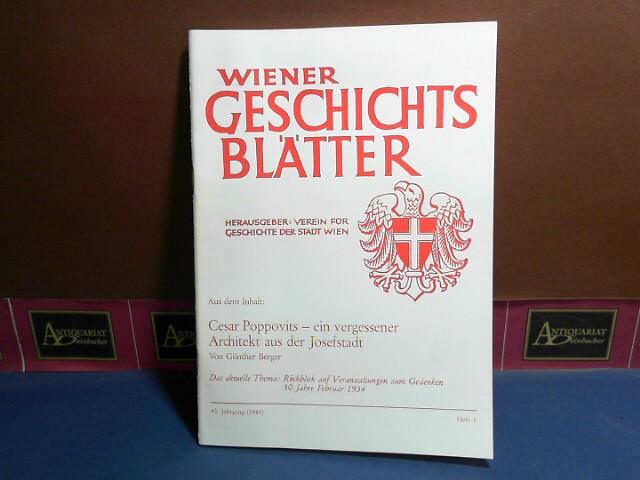 Wiener Geschichtsblätter, 40. Jahrgang, 1985, Heft 1,: Czeike, Felix: