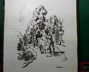 Parkeingang - Original-Lithographie, 40 x 30 cm: Harta, Felix Albrecht