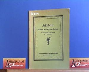 Festschrift zur Enthüllung des Franz Keim-Denkmales im: Hammer, W.A., Karl