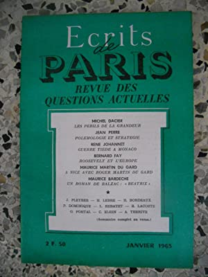 Ecrits de Paris - Revue des questions: Michel Dacier -