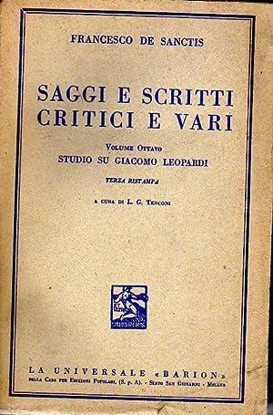 Studio su Giacomo leopardi- vol. VIII°- (Saggi: De Sanctis F.