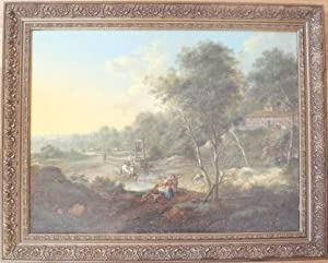 """AN EXTENSIVE WOODED LANDSCAPE WITH FIGURES BY A FORD"""" (Oil on Canvas): Johann Christian ..."""