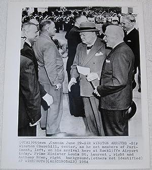 Press Photograph of Winston Churchill, Louis St. Laurent and Anthony Eden.: Winston Churchil; Louis...