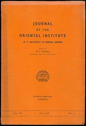 Edited by B.J.Sandesara. Vol. VII, No.4. June,: JOURNAL OF THE